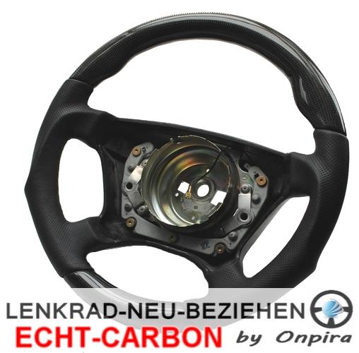 Lenkrad mit Echt Carbon und Leder beziehen Handarbeit nach Kundenwunsch