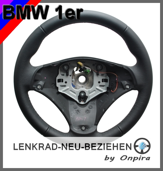 bmw 1er e81 e82 e87 e88 lenkrad neu mit bmw automobilleder beziehen. Black Bedroom Furniture Sets. Home Design Ideas