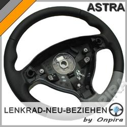 Opel Astra G MFL Lenkrad neu beziehen Automobilleder Irmscher schw./grau