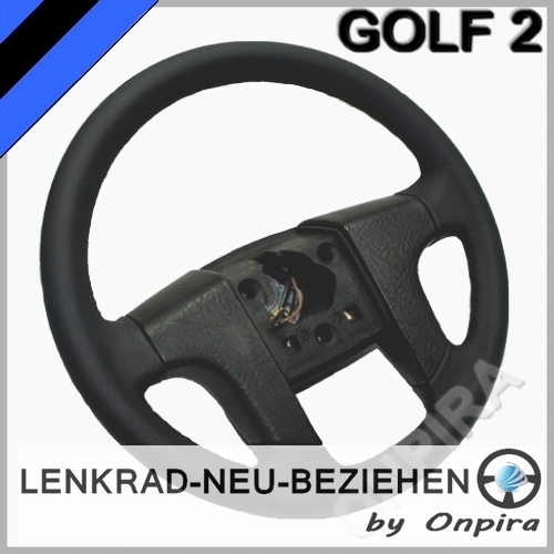 vw golf ii 2 lenkrad neu beziehen mit automobil leder. Black Bedroom Furniture Sets. Home Design Ideas
