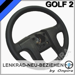 VW Golf II 2 Lenkrad neu beziehen mit Automobil - Leder