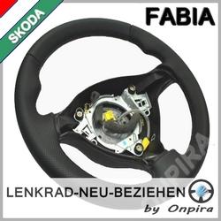 Skoda Fabia Lenkrad neu beziehen mit Automobil - Leder Daumenauflagen