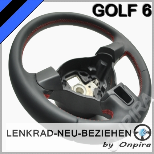 VW Golf 6 VI Lenkrad mit Automobil - Leder neu beziehen 5K0419091H