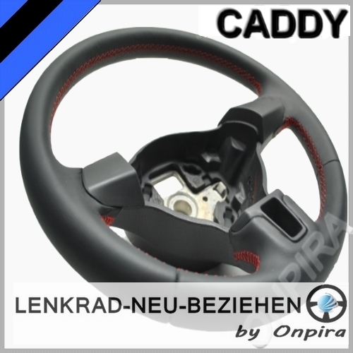 vw caddy lenkrad mit automobil leder neu beziehen 5k0419091h. Black Bedroom Furniture Sets. Home Design Ideas