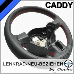 VW CADDY Lenkrad mit Automobil - Leder neu beziehen 5K0419091H