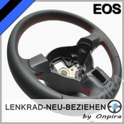 VW EOS Lenkrad mit Automobil - Leder neu beziehen 5K0419091H