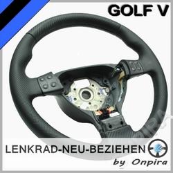 VW GOLF V 5 LENKRAD NEU BEZIEHEN MIT CARBON UND AUTOMOBIL LEDER