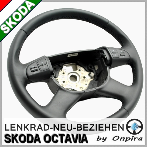 Skoda Octavia II Lenkrad mit Leder neu beziehen Lederlenkrad