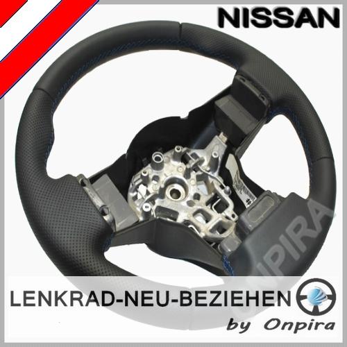 Nissan Navara Lenkrad neu beziehen mit Automobil - Leder + Daumenauflagen