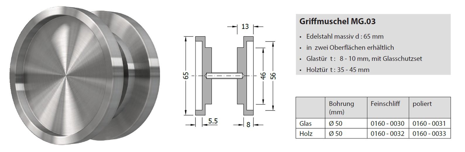 MLS Griffmuschel Muldengriff Edelstahl Schiebet/ür mehrere Modelle zur Auswahl T/ürart Holzt/ür 35-45 mm Griffmodell MG.03 Finish Matt
