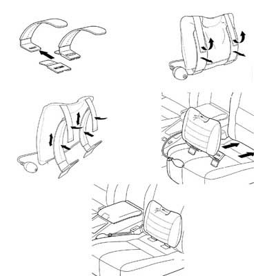 sitback air autositz r ckenkissen leder grau ebay. Black Bedroom Furniture Sets. Home Design Ideas