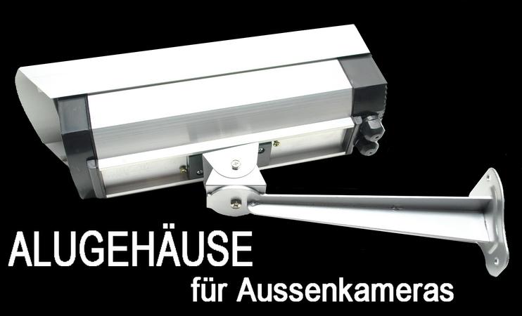 geh use f r aussen kamera aus aluminium mit halterung. Black Bedroom Furniture Sets. Home Design Ideas