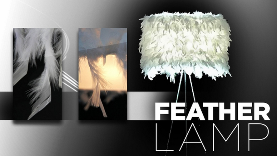stehlampe stehleuchte feder feather 160cm auf vernickeltem dreibein modern ebay. Black Bedroom Furniture Sets. Home Design Ideas