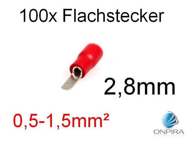 100 Flachstecker 2,8mm 0,5 - 1,5 mm² rot Kabelschuh Stecker