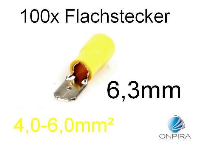 100 Flachstecker 6,3mm 4,0 - 6,0 mm² gelb Kabelschuh Stecker