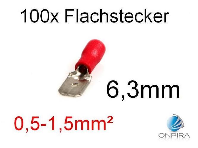 100 Flachstecker 6,3mm 0,5 - 1,5 mm² rot Kabelschuh Stecker