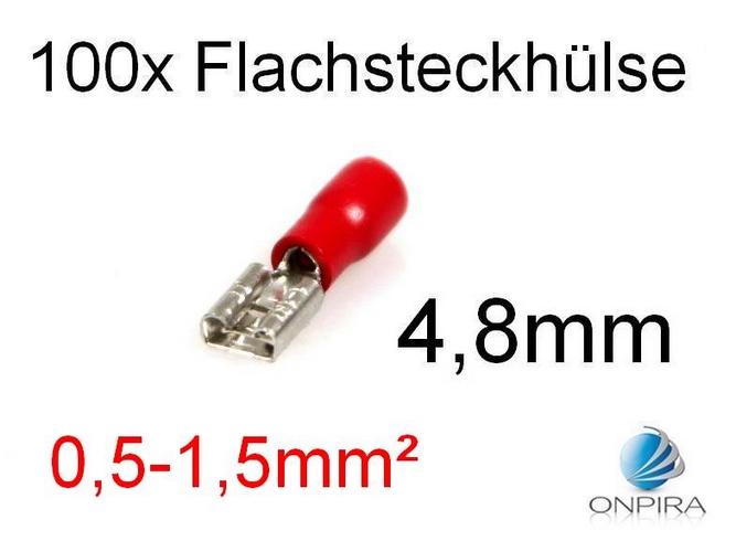 100 Flachsteckhülsen 4,8mm 0,5 - 1,5 mm² rot Kabelschuh Flachsteckhülse