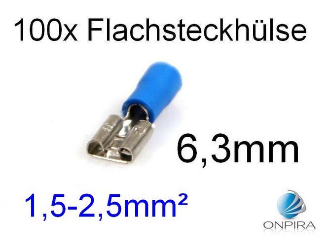 100 Flachsteckhülsen 6,3mm 1,5 - 2,5 mm² blau Kabelschuh Flachsteckhülse