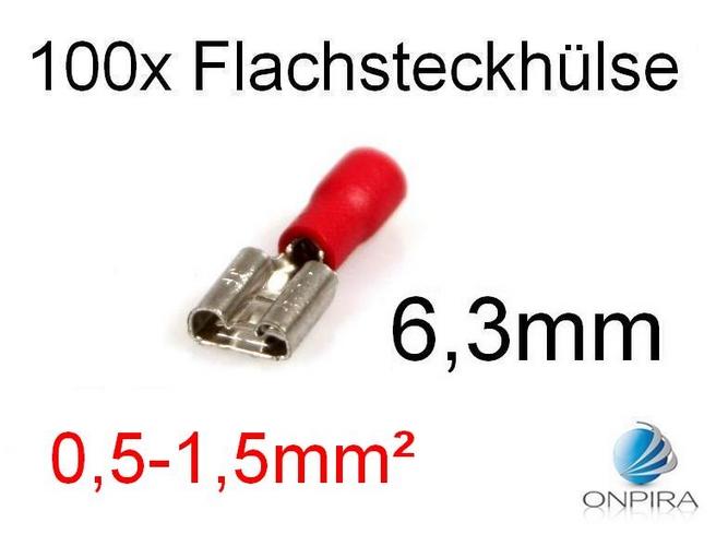 100 Flachsteckhülsen 6,3mm 0,5 - 1,5 mm² rot Kabelschuh Flachsteckhülse
