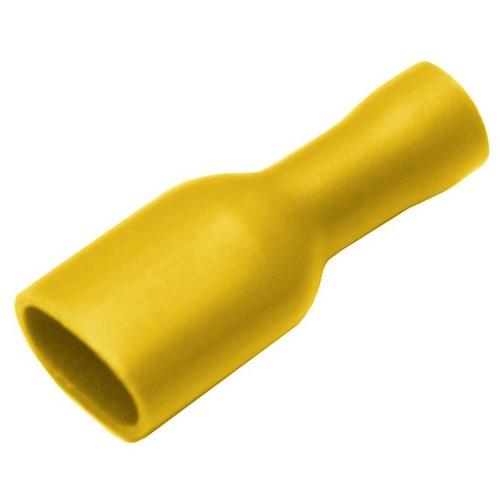 100 Flachsteckhülsen 6,3mm 4,0-6,0mm² Isoliert gelb Kabelschuh Flachsteckhülse