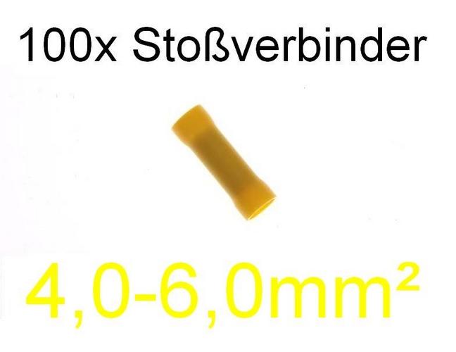 100 Stoßverbinder 4,0 – 6,0 mm² gelb Kabelschuh Stecker Quetschverbinder