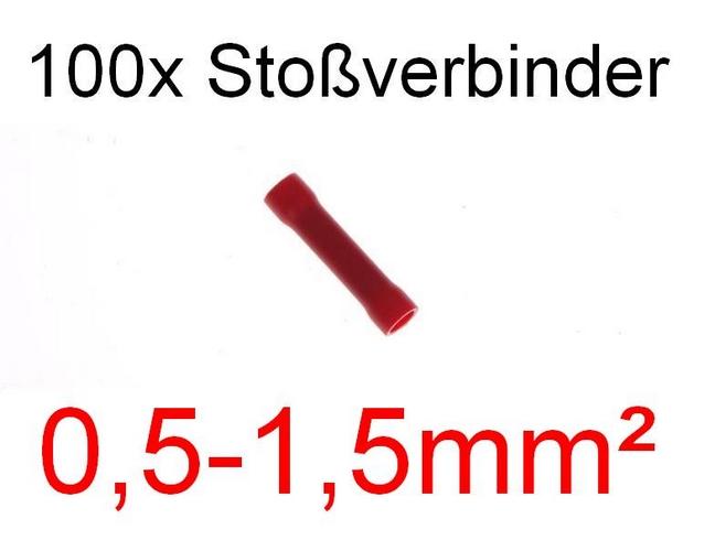 100 Stoßverbinder 0,5 - 1,5 mm² rot Kabelschuh Stecker Quetschverbinder