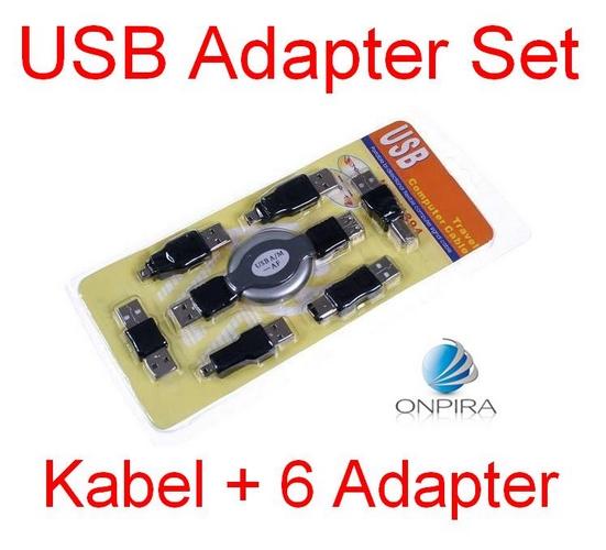 USB Kabel mit 7 Adapter im Set.1 Meter Verlängerungskabel USB A