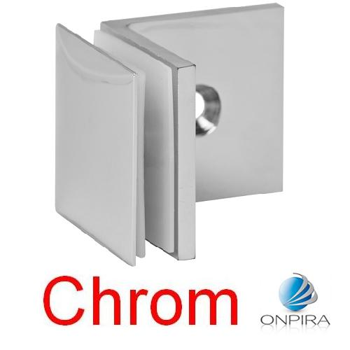 Chrom GLASHALTER 45x45mm Wand 8mm 8,38mm 8,76mm Klemmhalter Glasklemme