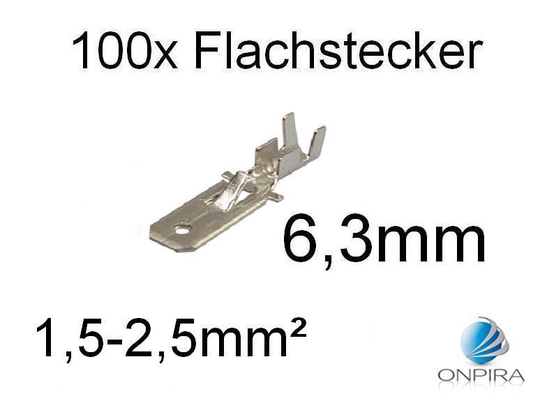 100 Flachstecker 6,3mm 1,5 - 2,5 mm² Kabelschuh unisoliert mit Rasternase