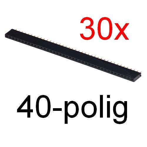 30x-Buchsenleiste-40-polig-gerade-RM-2-54mm-Gold-Kontakte-Anschluesse