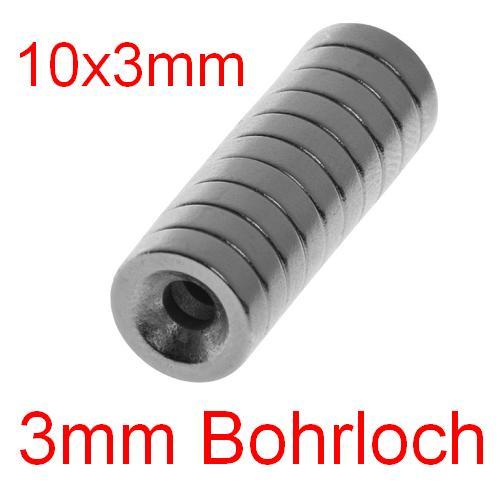 10x 10x3mm neodym magnet bohrloch 3mm loch power magnete. Black Bedroom Furniture Sets. Home Design Ideas