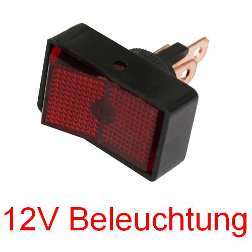 kfz schalter rot wippschalter einbau schalter 12v beleuchtung pkw lkw traktor ebay. Black Bedroom Furniture Sets. Home Design Ideas