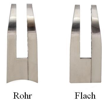 edelstahl-optik glashalter 55x32mm flach rohr 8mm 8,38mm 8,76mm