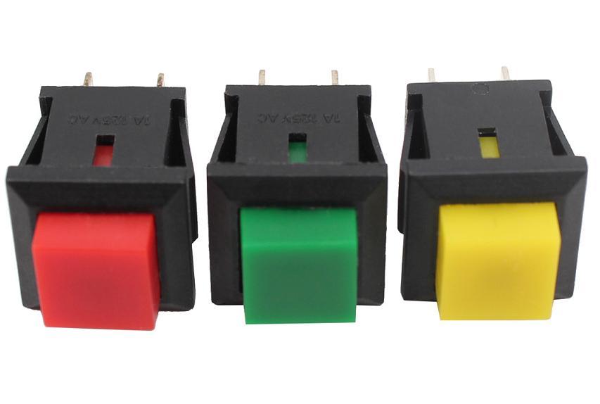 20x-Mini-Drucktaster-Taster-Rot-Gruen-Gelb-1x-EIN-11x13mm-max-125V-1A