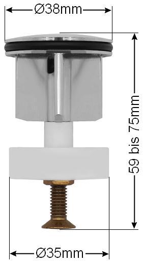 38mm waschbecken stopfen st psel f r excenter ablaufgarnitur waschtisch abfluss. Black Bedroom Furniture Sets. Home Design Ideas