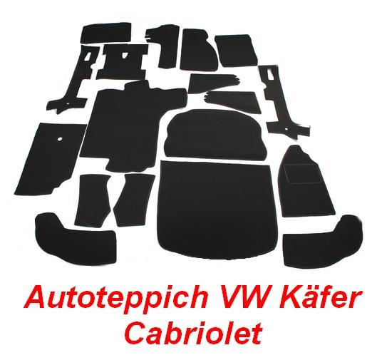 VW Käfer Cabrio 1303 Auto Teppich komplettes Set Velours
