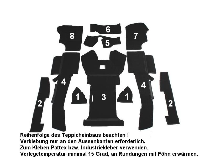 VW T3 Bus Diesel kompletter Teppich (nicht Fussmatten