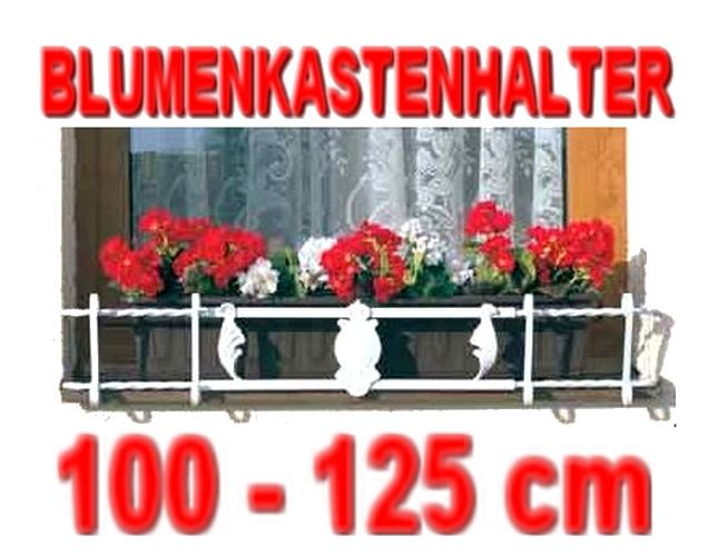 blumenkastenhalter weiss verzinkt 100 125 cm f r. Black Bedroom Furniture Sets. Home Design Ideas