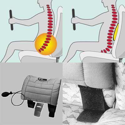 sitback r ckenkissen heizung luftkissen stoff grau ebay. Black Bedroom Furniture Sets. Home Design Ideas