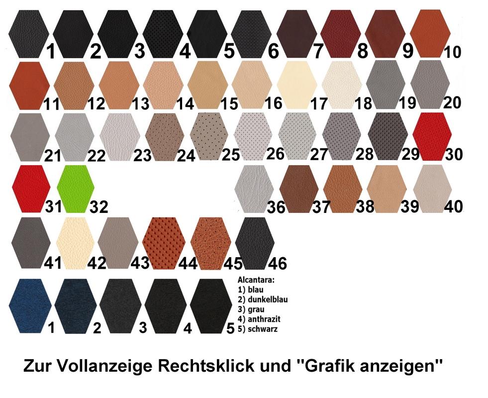 Auszug aus unserer Leder-Farbkarte