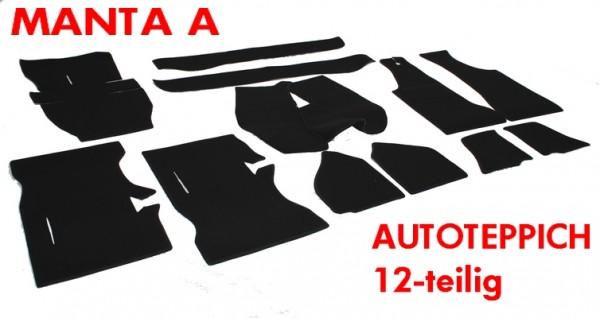 Opel Manta A Auto Teppich Schlingenware schwarz + Hutablage + Kofferraummatte