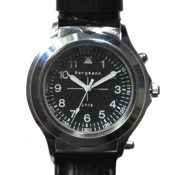 """Bergmann Uhr 1978 """"Agent"""" mit eingebautem Lupenglas und Leuchte"""