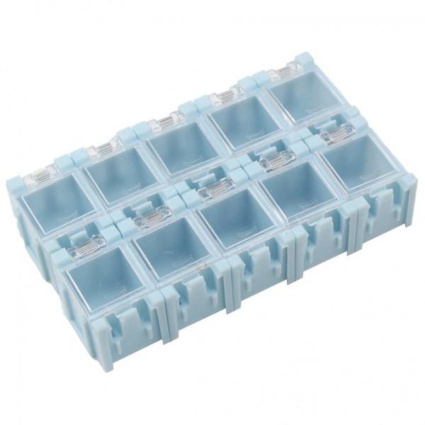 10x SMD Container Blau aneinandersteckbar Mäuseklo Sortiment Box SMT 0805 1206