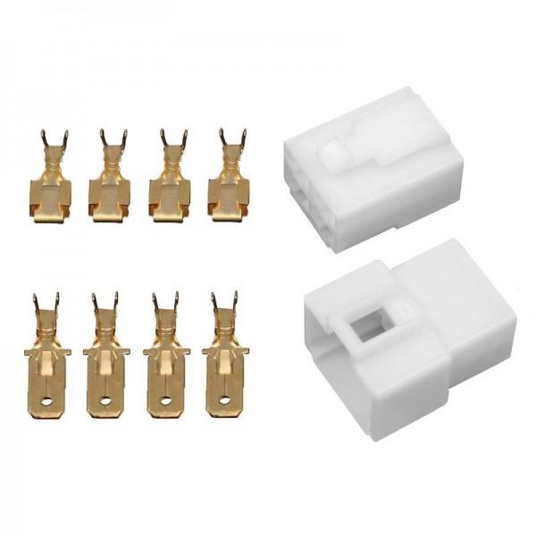 10x Gehäuse 4 polig Stecker 6,3mm Flachsteckhülsen Flachstecker Steckergehäuse