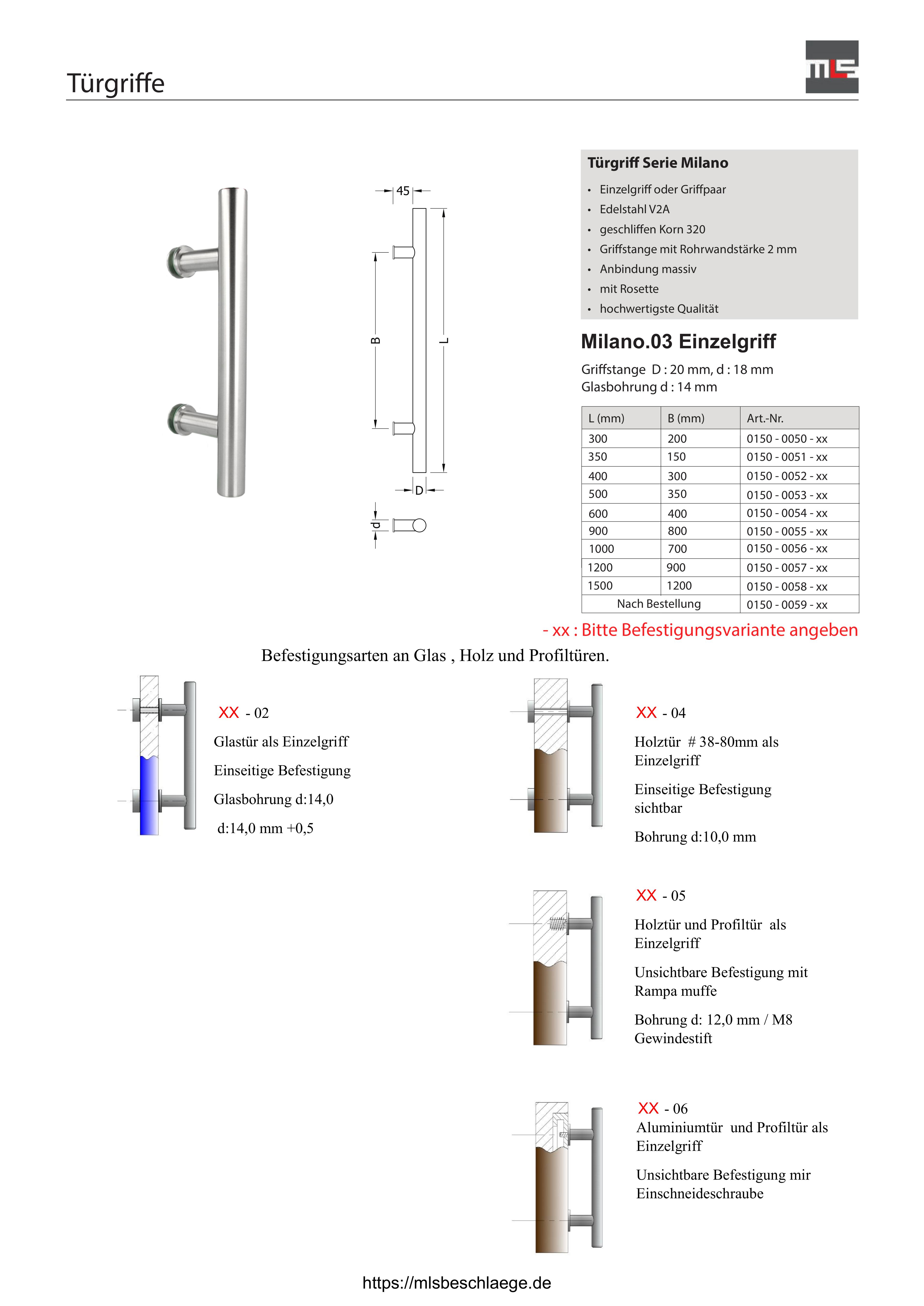 Stangengriff 1589 Länge 330 mm Edelstahl D= 32 mm Griffstange Stoßgriff Türgriff