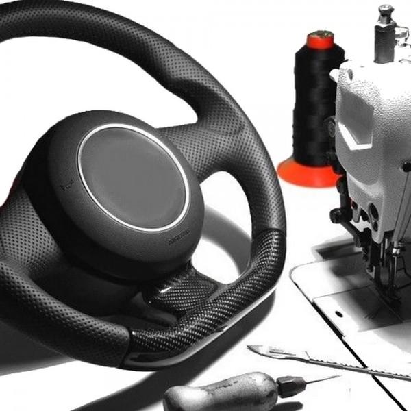 VW Golf 5 V Lenkrad neu beziehen mit Automobil - Leder glatt+perforiert