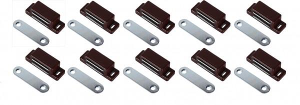 Magnetschnapper 10 Stück Braun Möbelmagnet Türmagnet Möbel Magnet Magnetverschluss