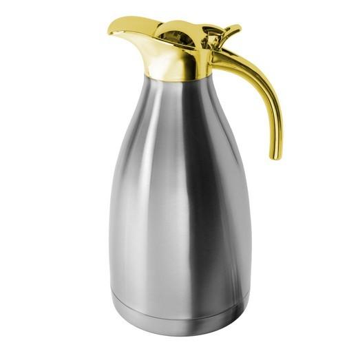 Edelstahl Optik Kaffeekanne Gold Rand 2,0l Teekanne unisoliert Getränk