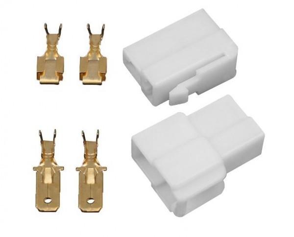 10x Gehäuse 2 polig Stecker 6,3mm Flachsteckhülsen Flachstecker Steckergehäuse