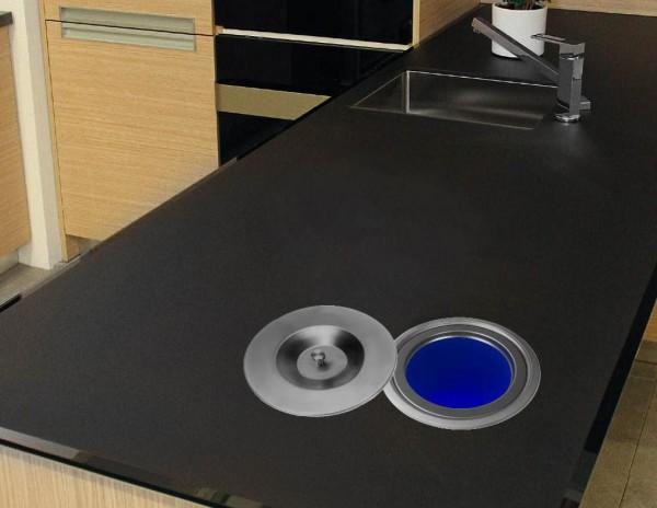 Edelstahl Einbau Abfalleimer Küchen Arbeitsplatte Mülleimer Abfallsammler 4,5L